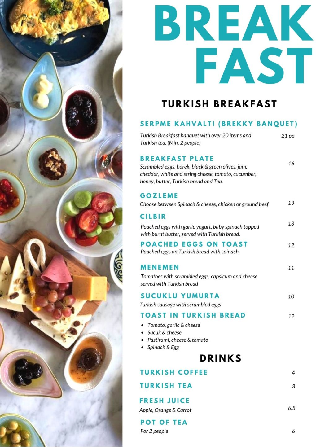 Breakfast menu, Taste of Turkey
